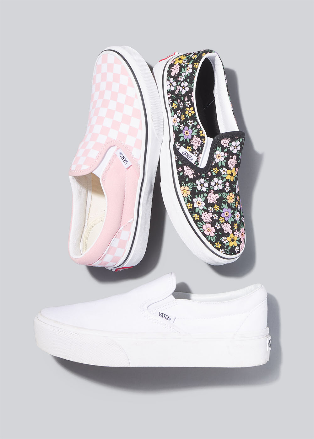 Editorial-Damion-Lloyd-Photography-Laydown-Commercial-Apparel-Product-Clothing-Art-Directed-Los-Angeles-Orange-County-Tillys-vans-slip-ons-shoes-pink-white-flowers