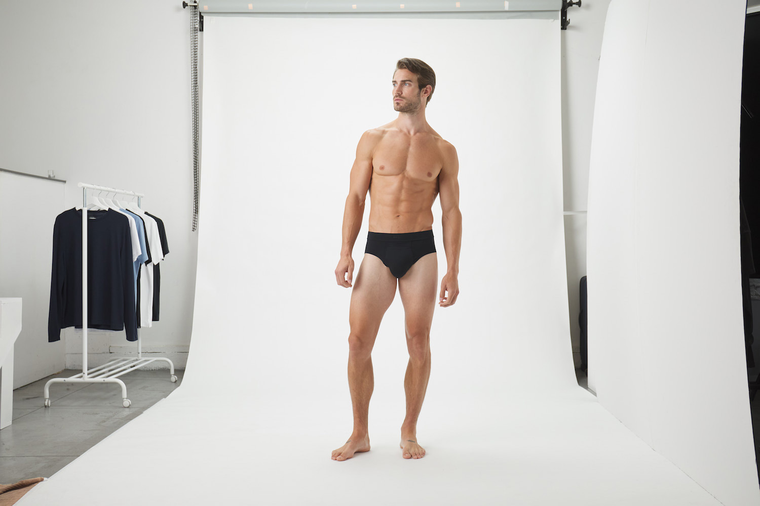 Model-Onmodel-in-studio-instudio-Damion-Lloyd-Photography-Commercial-Product-Apparel-Clothing-Los-Angeles-Orange-County-male-man-Jack-Archer-black-brief-side