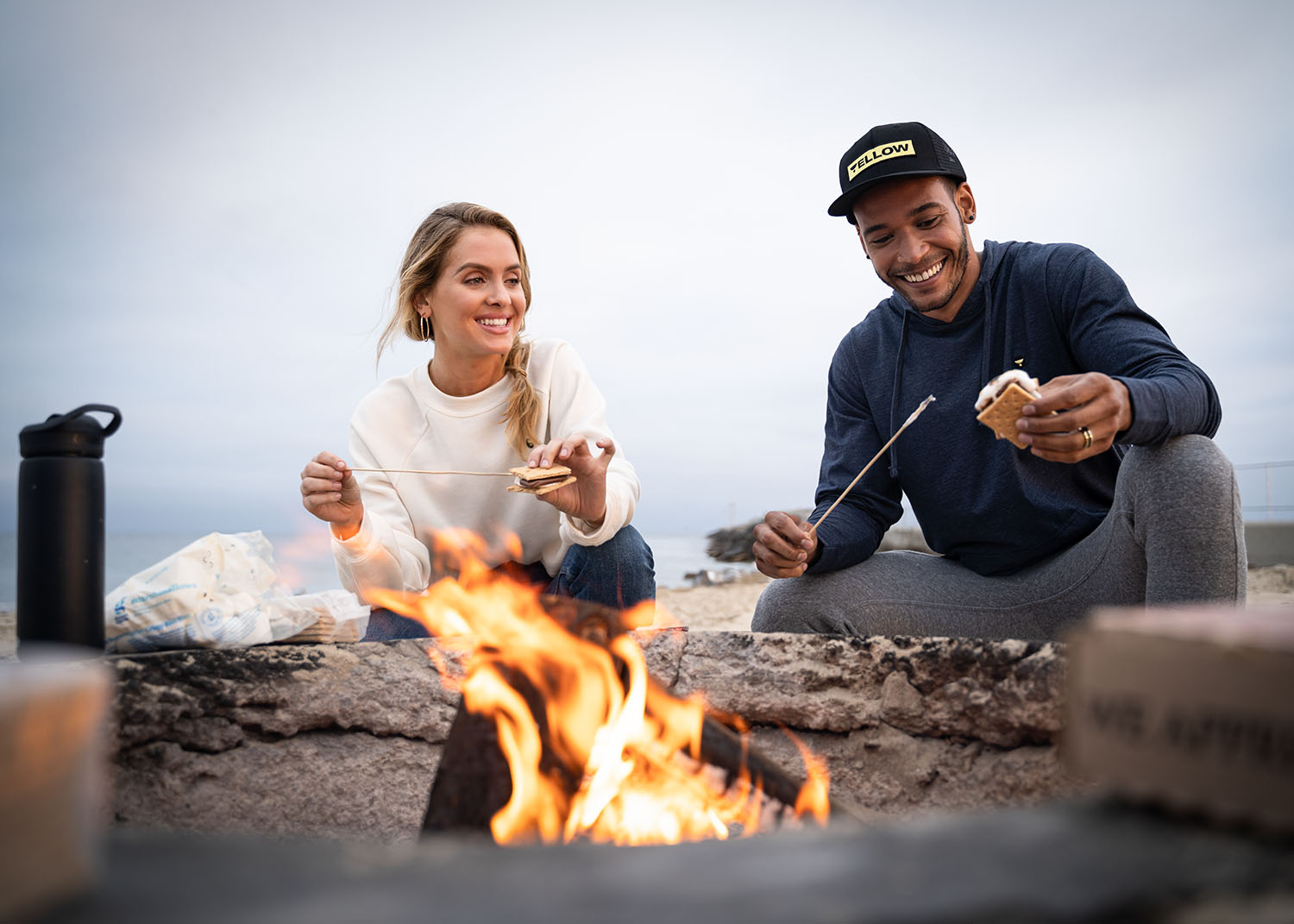 Lifestyle-On-Location-Model-Onmodel-Damion-Lloyd-Photography-Commercial-Product-Apparel-Clothing-Los-Angeles-Orange-County-female-male-The-Yellow-Life-fire-pit-smores-beach-sunset