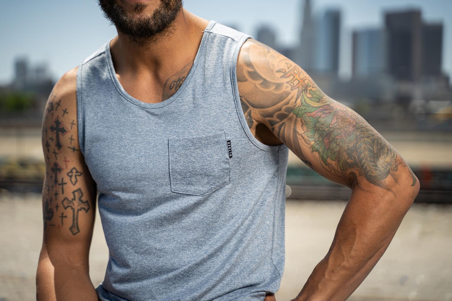 Lifestyle-On-Location-Model-Onmodel-Damion-Lloyd-Photography-Commercial-Product-Apparel-Clothing-Los-Angeles-Orange-County-male-man-GLYDER-sportswear-outdoor-city-blue-tank-top-muscles-tattoo