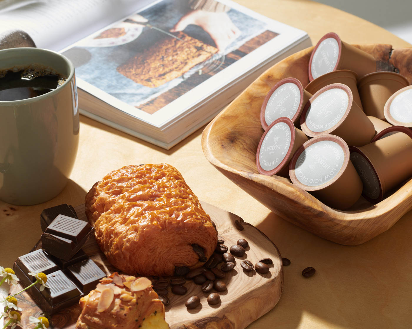 Lifeboost-life-boost-coffee-editorial-style-commercial-photographer-photography-damion-lloyd-product-food-drink-chocolate-croissant-caramel